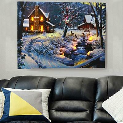 LED Winter House Light-up Canvas Art Picture Print Home Wall Hanging Decoration