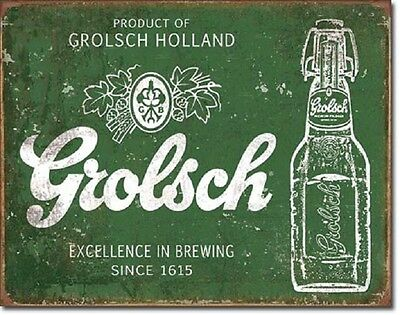 Grolsch Beer Excellence Distressed Wall Advertising Retro Vintage Metal Tin Sign
