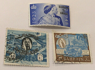 Bahrain 1950's - 60's UK British Colony lot of 3 stamps env436