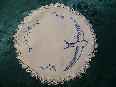 Vintage Hand Embroidered Blue Bird Doiley  White Lace Ege