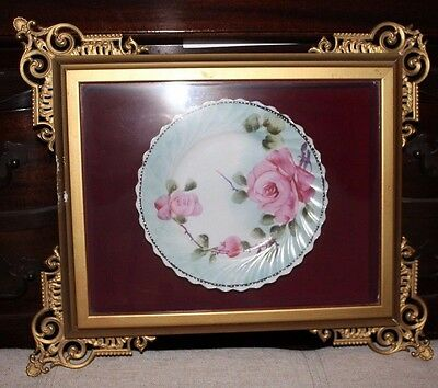 Hand painted pink rose plate in shadowbox gilt frame from Sarachek's Fine art