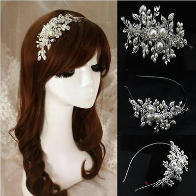 Vintage Alloy Bridal Wedding Crystal Pearl Headband Tiara Rhinestone Hair Band