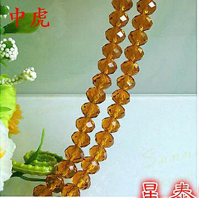 Jewellery 70pcs Rondelle Faceted crystal beads 8x6 mm amber