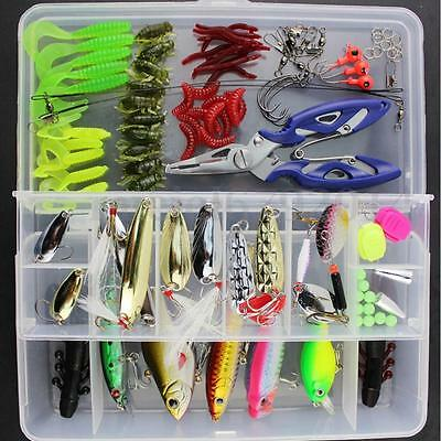 101Pcs Fishing Lures Spinners Plugs Spoons Soft Bait Pike Trout Salmon+Box Set