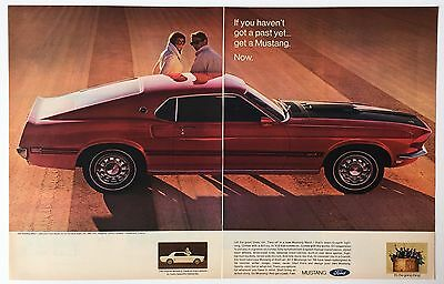 1969 Ford Mustang Mach I Original 2 Page Advertisement Photo Red Car AD
