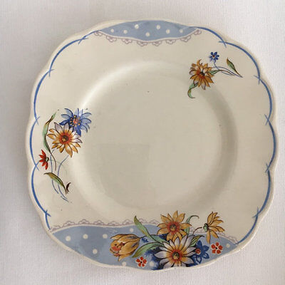 Grindley Creampetal Blue and Golds Daisies with Polka Dots side plate1940s