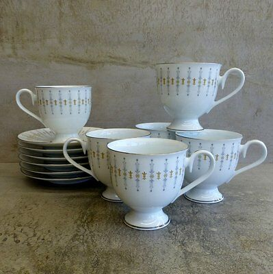 6 Vintage Noritake Tiffany N519 Teacups and Saucers Made in Ireland 1978 - 1985
