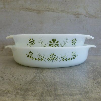 2 Vintage Glasbake Green Daisy 1.3Ltrs and 1.6Ltrs USA Oven Proof Glass Pyrex