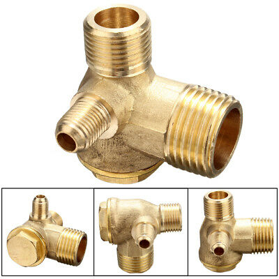 3 Port Way Male Thread Brass Air Compressor Check Valve Tube Connector Gold Tone