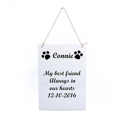 Personalised Engraved Pet Memorial Wooden Retro Grave Marker Hanging Plaque
