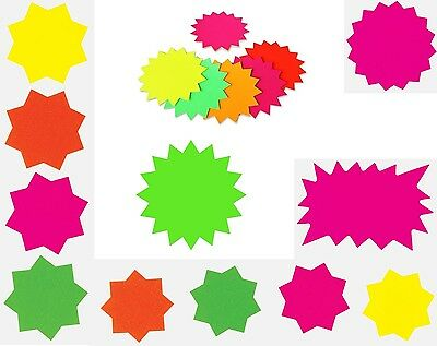 Fluorescent Neon Shapes Stars Flash Cards Display Shop Retail Tags Labels