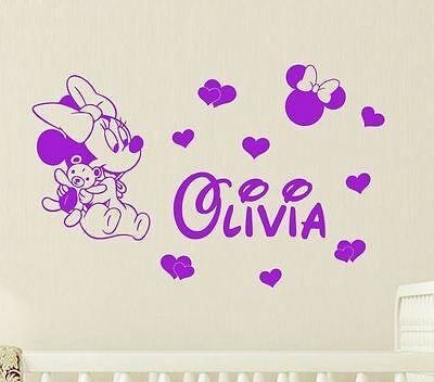 Any Name + BABY Minnie Mouse Mickey Mouse Wall Stickers Bedroom Toddler Kids