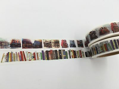 UK Serious Print Washi tape Library Books Retro Architecture Building 15mm x 10M