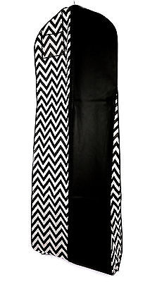 12pcs Black White Chevron Breathable Wedding Gown Prom Dress Garment Bag EX Long
