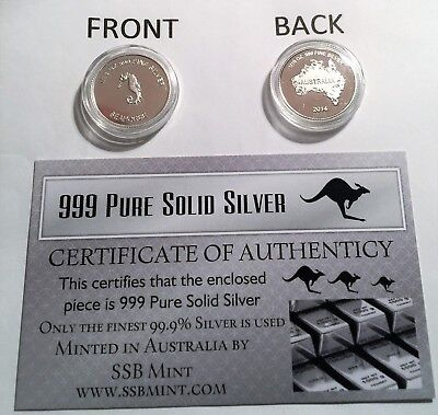 "New 2014 Certified ""SEAHORSE"" 1/10th OZ 999.0 Pure Silver Proof Coin"