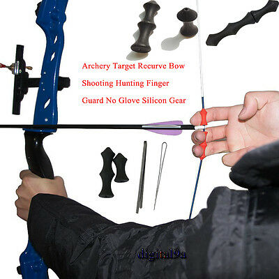 Archery Target Recurve Bow Shooting Outdoor Finger Guard No Glove Silicon Gear B