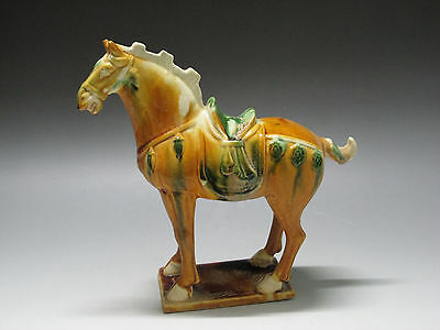 Chinese Tang Three-color Pottery Horse Yellow Green Brown Statue W00000000000122