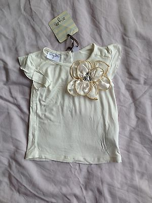 Origami Baby Girl White Top Big Flower New With Tags Size 1