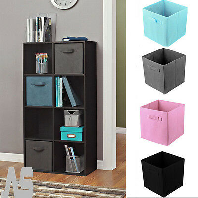 4x Foldable Square Canvas Storage Collapsible Folding Box Fabric Cubes Kids Home
