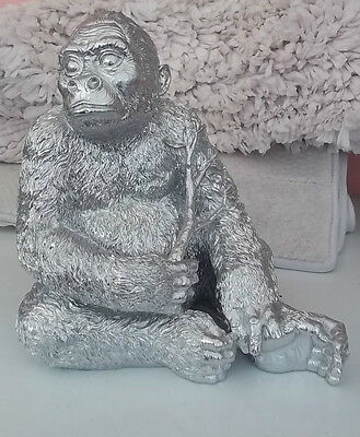 NEW large Silver coloured Gorilla ornament statue gift
