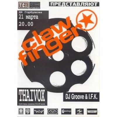 CLAWFINGER Live In Moscow 21/3/98 FLYER Russian Promo Concert Flyer Approx 30 X
