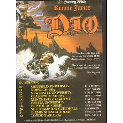 RONNIE JAMES DIO An Evening With FLYER UK Clear Channel 2005 A5 Flyer For Uk