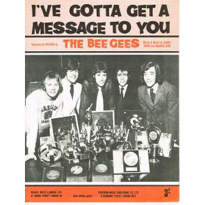 BEE GEES I've Gotta Get A Message To You SHEET MUSIC UK 1968 4 Track Sheet Music