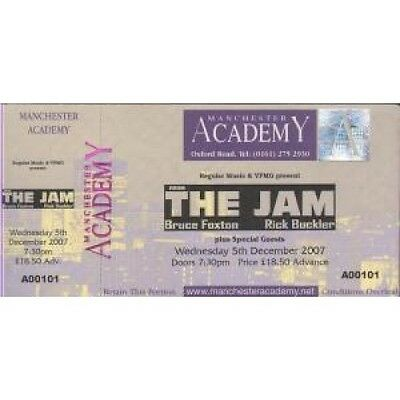FROM THE JAM Manchester Academy 05 December 2007 TICKET UK 2007 Unused Ticket
