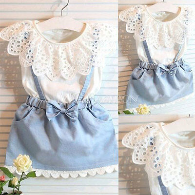 Toddler Kids Baby Girls Summer Outfits Clothes T-shirt Tops+Denim Dress 2PCS Set