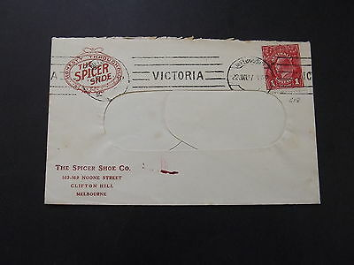AUSTRALIA - 1d RED KGV ON OLD COVER FROM THE SPICERSHOE CO VIC 22/2/1917