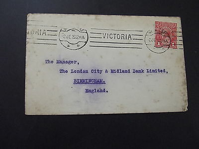 AUSTRALIA - 1d RED KGV ON OLD COVER TO ENGLAND 1912