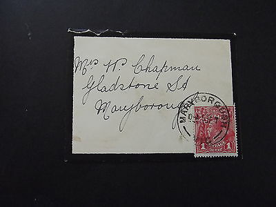 AUSTRALIA - 1d RED KGV ON OLD COVER TO MARYBOROUGH