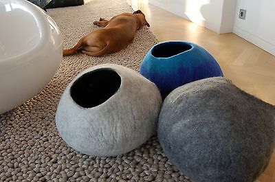 Cat cave nest hand felted BIG bed from 100% organic wool, many colors comfy,dog