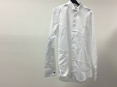 Mens White Wing Plain Tuxedo Wedding Slim Dress Shirt Size 15 1/2 - 8A03