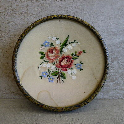 Vintage Petit Point Vanity pin dish embroidery brass & glass England - Stained