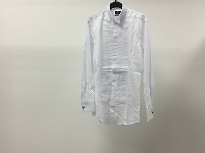 Mens White Wing Pleated Slim Fit Formal Tuxedo Dress Shirt Size 14 1/2 - 8A08