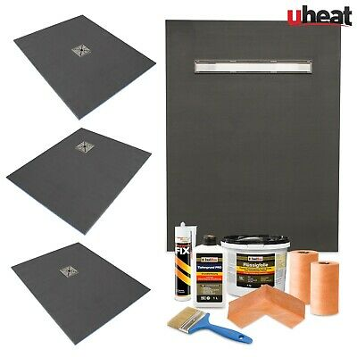 Wet room Kit Wetroom | Walk in Shower Tray Base with Drain including Linear Kits