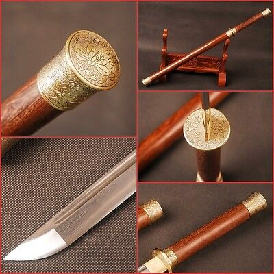 """Collectibles Engrooved Chinese Tang sword """"唐刀"""" Folded steel Rosewood saya&handle"""