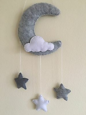 Monochrome moon cloud stars hanging baby nursery mobile wall crib decoration