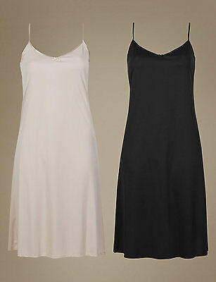 2 Pack Assorted Full Slips  - size 16 - Fawn & Black - M&S