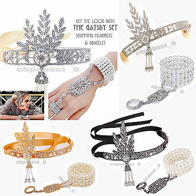 Great Gatsby 1920s Flapper Headband Crystal Pearl Headpiece Bracelet Ring Set