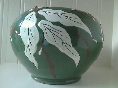 royal barum ware by c.h.brannam leaf and berry vase