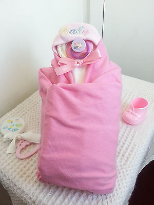 Baby Girl Swaddle Diaper Cake Baby Shower Centerpiece - Pink White