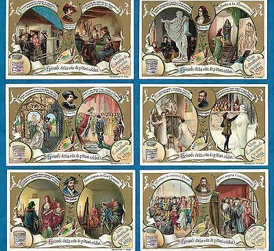 Set Of 6 Pretty Italian Liebig Cards - Lives Of Famous Painters - C1904