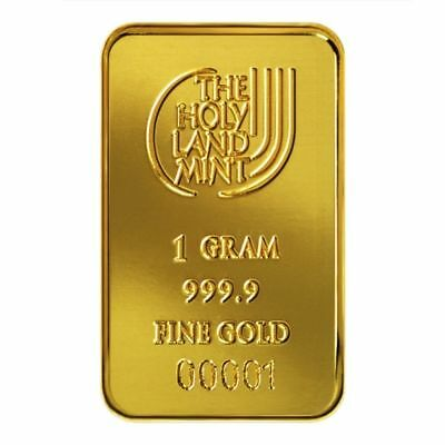 The Holy Land Mint 1 gram Pure Gold Bar 999.9 Israel Certificate