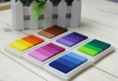6 set  24 Color Rubber Stamps Ink Pad for Paper Fabric Wedding Finger Print UK