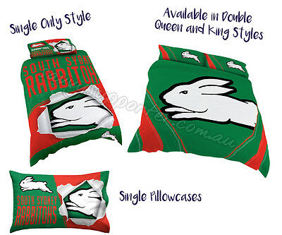 South Sydney Rabbitohs 2017 NRL Quilt Cover Pillowcase All Sizes Available