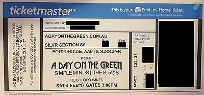 A Day On The Green - B52's / Simple Minds - 4th Feb - Tickets X2 -Silver Section
