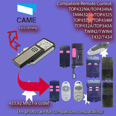 CAME TOP432NA, TOP434NA Remote Control Replacement,Clone