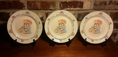 "Tienshan Country Girl Bear Salad plate set of 3, 7 3/8"", Rare, Excellent"